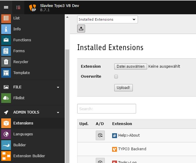 Screenshot from the installation inside the extension manager